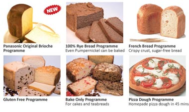Panasonic Breadmaker programmes
